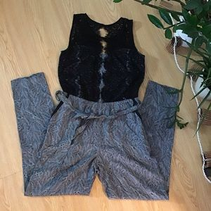 Anthropologie Elevenses lace bodice jumpsuit